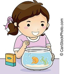 Fish Pet Kid Girl Feeding Illustration