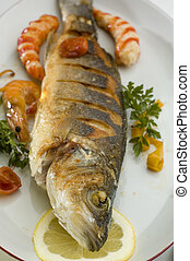 fish - sea bass baked on a plate close up shoot