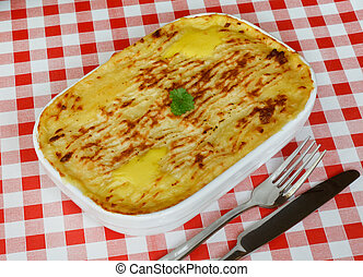 Fish pie on cafe table - Traditional Homemade Fish Pie in a...