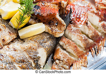 Fish platter with strips of fish to be served.
