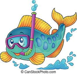 fish, plongeur, 1, thème, snorkel, image