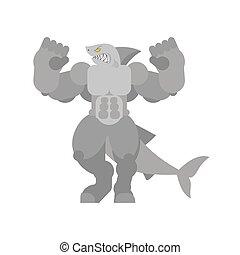 fish., poderoso, predador, grande, bodybuilder, água mar, forte, shark., predatório