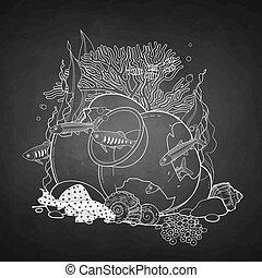 fish, pot, graphique, cassé, aquarium