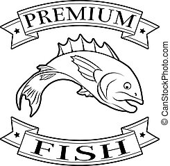 Premium fish menu icon of a fish and banners in a stamp style