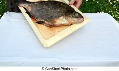 fish prepare bake foil - huge bream fish prepared for bake...