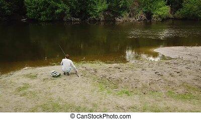 fish., prises, concept, bank., tige, fuite, pêcheur, peche,...