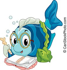 Fish Reading - Illustration of a Geeky Fish Eagerly Reading...