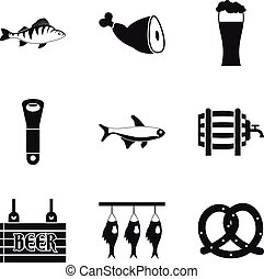 Fish ready icons set, simple style