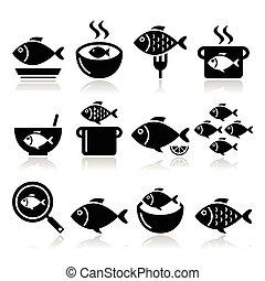 fish, repas, icônes, -, soupe, chowder