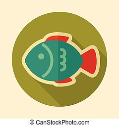 Fish retro flat icon with long shadow