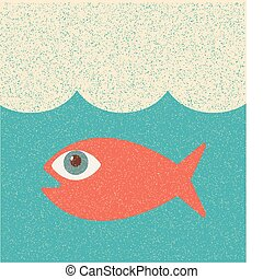 Fish. Retro poster