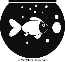 Fish round aquarium icon, simple style - Fish round aquarium...
