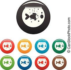 Fish round aquarium icons set color - Fish round aquarium...