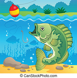 fish, słodkowodny, temat, wizerunek, 4