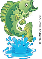 fish, słodkowodny, temat, wizerunek, 6