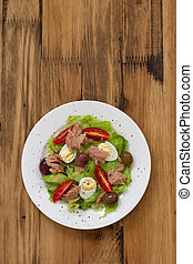 fish salad on white plate