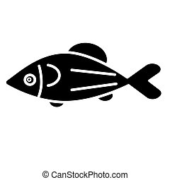 fish salmon icon, vector illustration, black sign on isolated background