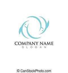Fish salmon logo template. Creative vector