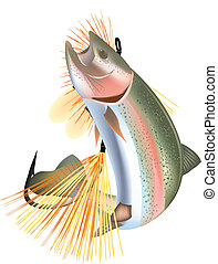 fish salmon trout - trout fish with artificial bait pretend