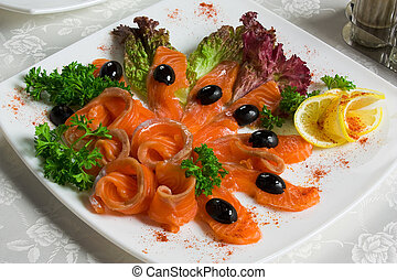 salted salmon sliced on a plate