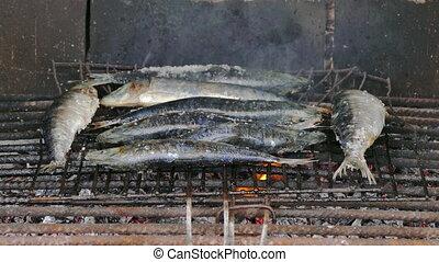 Fish Sardines Grilling on Grid