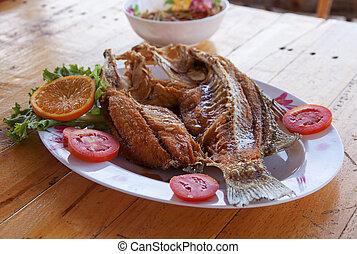 Fish sauce fried sea bass