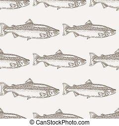fish, saumon, seamless, illustration, main, arrière-plan., vecteur, dessiné, fruits mer