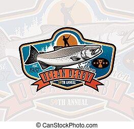 fish, saumon, vecteur, peche, icon., logo.
