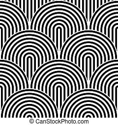 Fish scale seamless pattern background. Abstract design element. Black vector illustration of striped concentric circles