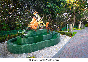 Fish sculpture in a park in Guayaquil