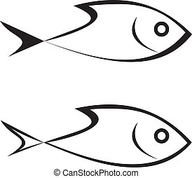 Fish - Sea-fish - vector stylized outline icon on white...