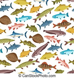 Fish seafood seamless pattern background design