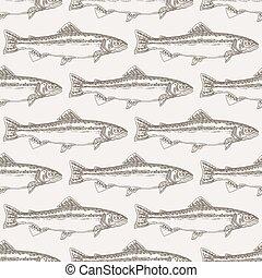 fish, seamless, illustration, main, arrière-plan., vecteur, dessiné, fruits mer, truite