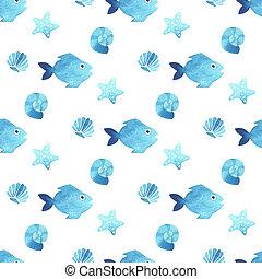 Fish seamless watercolor pattern