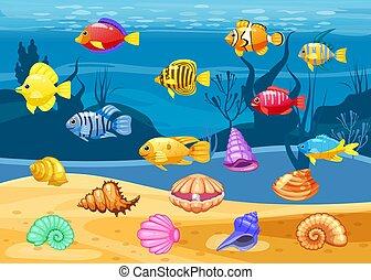 fish, seashell, elements., ikony, koral, gra, apps, odizolowany, tło, trzy, tropikalny, tło., gra, wektor, podwodny, rafa, biały, barwny, rysunek, mecz, perła