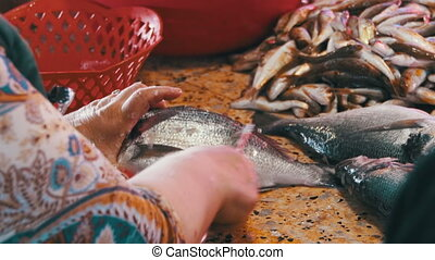 Fish Seller Cleans and Cutting Fresh Fish in Fish Market....