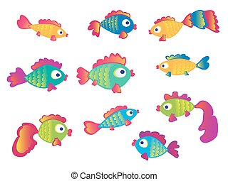 Fish set isolated on white background.