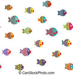 Fish Shoal Bright Cartoon Seamless Pattern - Childish...