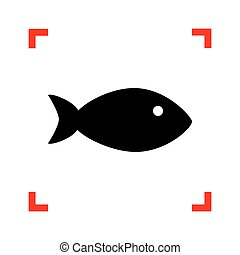 Fish sign illustration. Black icon in focus corners on white bac