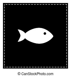 Fish sign illustration. Black patch on white background. Isolate