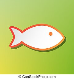 Fish sign illustration. Contrast icon with reddish stroke on green backgound.