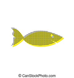 Fish sign illustration. Vector. Yellow icon with square pattern