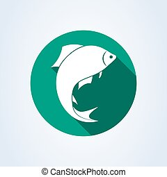 fish silhouette icon isolated on white background. Vector illustration
