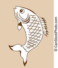 fish silhouette on yellow background