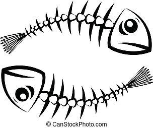 Fish silhouette - Two black fish skeleton on white...