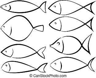 fish silhouettes - vector outlines