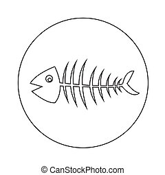 Fish skeleton icon illustration design