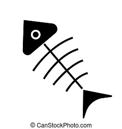fish Skeleton  icon, vector illustration, black sign on isolated background