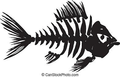 fish skeleton - primitive, rough image of fish skeleton in...