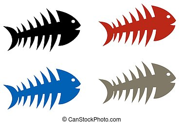fish skeleton multicolour